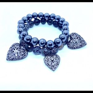 Jewelry - Hematite stretch bracelets w/ heart charms.